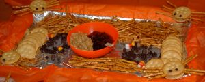 Make your own spider with pretzel sticks, ritz, peanut butter,chocolate chips