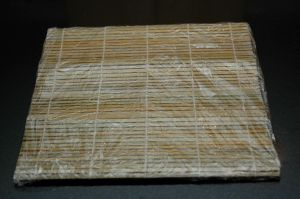 Bamboo mat wrapped with plastic wrap