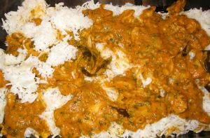 Layering with chicken curry