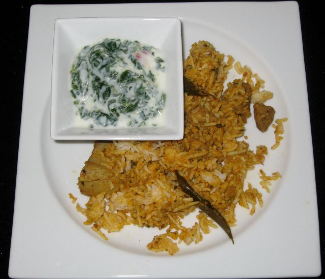 Chicken Biryani with Spinach Raita
