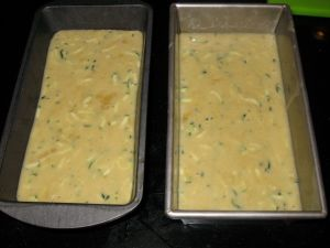 Zucchini Bread Batter in Loaf Pan