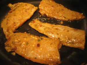 Fish fillets in pan