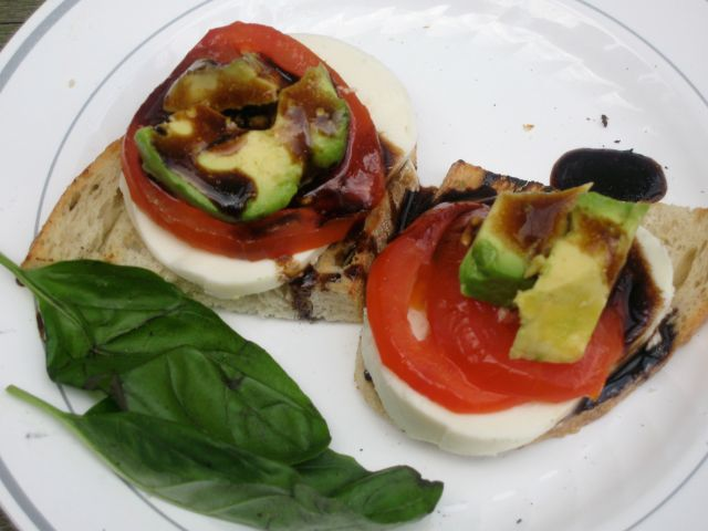 Tomato, Mozzarella and Avocado Stacks