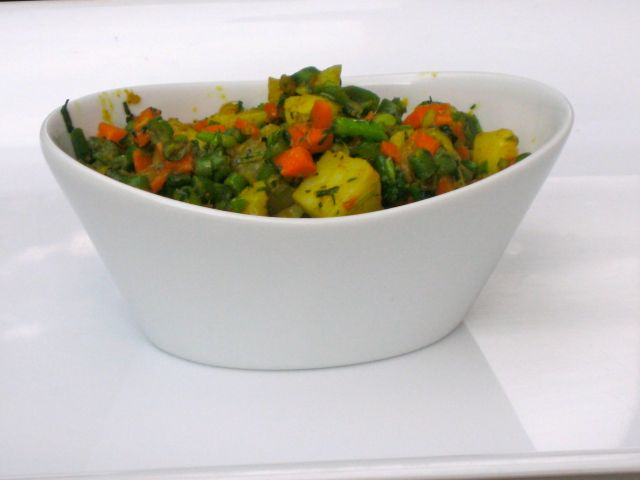 Potato, Green Bean and Carrot Subzi
