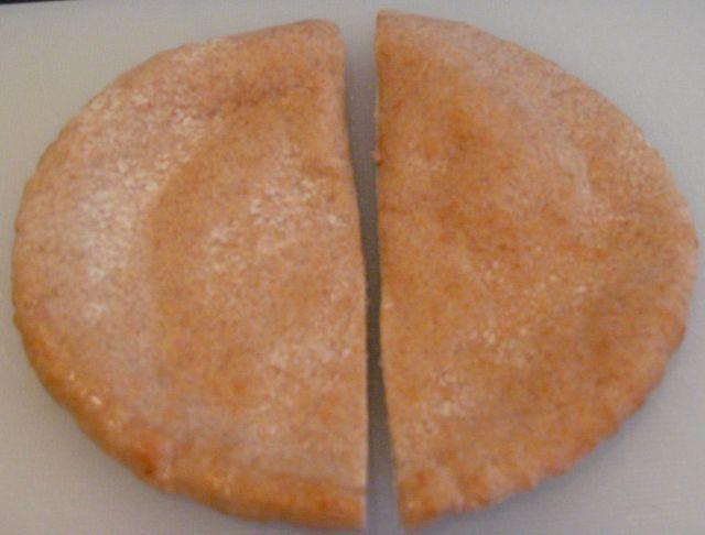 Cut the pita bread into halves
