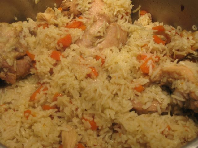 Carrot rice with chicken