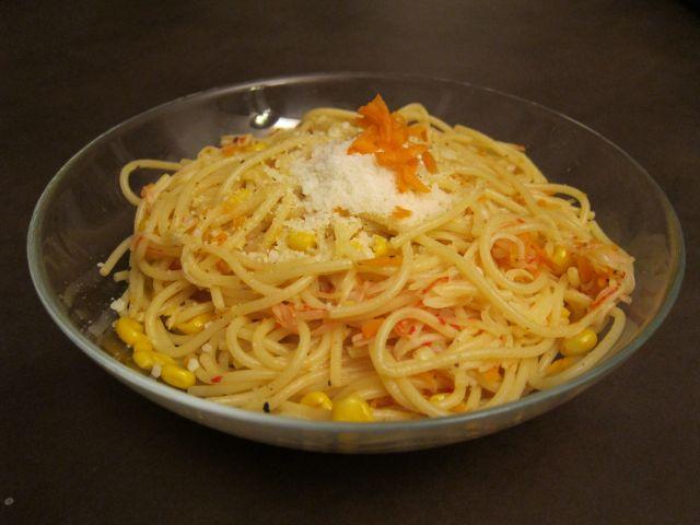 Spaghetti with Shredded Carrots, Corn & Imitation Crab Meat (pollock)