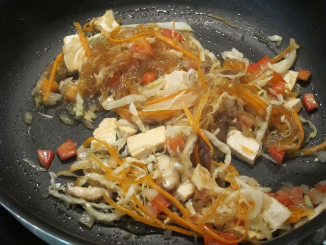 Chiva-Soms's Wok-fried Glass Noodles with Garden Vegetables